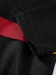 Elegant 3/4 Sleeve Stand Collar Midi Dress