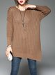 Solid Shift Long Sleeve Asymmetric Casual Sweater