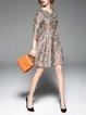 Multicolor A-line Casual  Midi Dress