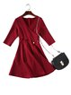 Stripes Elegant A-line 3/4 Sleeve Midi Dress