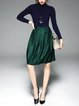 Stand Collar Long Sleeve Elegant  Paneled Midi Dress