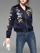 Casual Floral H-line Long Sleeve Bomber Jacket