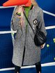 Embroidered Appliqued H-line Long Sleeve Cute Wool blend Coat