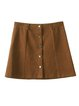 Brown Casual A-line Mini Skirt
