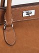 Camel Twist Lock Casual Leather Top Handle