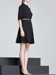 Black Half Sleeve Paneled Shirt Dress with Belt