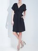 Black Plain Gathered Elegant H-line Midi Dress