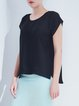 Black Plain Simple Polyester Asymmetric Short Sleeved Top