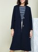 Dark Blue Plain Wool Blend Lapel Long Sleeve Coat