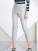 Light Gray Simple Plain Wool Blend Straight Leg Pants