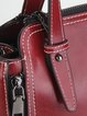Burgundy Zipper Casual Leather Top Handle