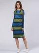 Multicolor Long Sleeve Printed H-line Midi Dress