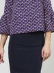 Blue Casual Printed Crew Neck Top With Skirt
