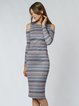 Multicolor Sheath Long Sleeve Cold Shoulder Midi Dress