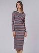 Multicolor H-line Long Sleeve Wrap Surplice Neck Midi Dress