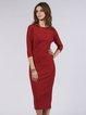 Red Jersey H-line Plain Casual Midi Dress