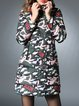 Army Green Hoodie Casual Printed Coat
