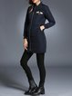 Black Long Sleeve Stand Collar Solid Appliqued Coat