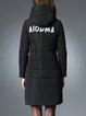 Black Hoodie Long Sleeve Appliqued Coat