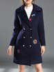 Blue Appliqued Lapel Casual Coat