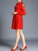 Red Long Sleeve Stand Collar Crocheted Mini Dress