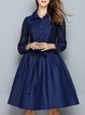 Blue A-line Elegant Shirt Collar Paneled Midi Dress