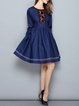 Blue Crew Neck Embroidered Vintage Mini Dress