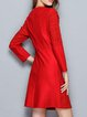 Red Paneled Long Sleeve Crocheted Crew Neck Mini Dress