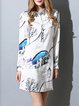 Printed Chiffon Casual Long Sleeve Shirt Dress