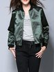 Dark Green H-line Casual Plain Bomber Jacket