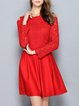 Red Crocheted Pierced Cotton-blend Cold Shoulder Folds Mini Dress