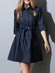 Casual 3/4 Sleeve Denim Shirt Collar Plain Mini Dress