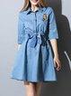 Sky Blue 3/4 Sleeve Denim Shirt Collar Mini Dress