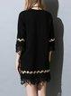 Black Crew Neck Cotton-blend 3/4 Sleeve Crocheted Mini Dress