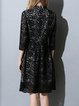 Black Girly Pierced Lace Midi Dress