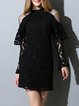 Black Sheath Lace Stand Collar Vintage Mini Dress