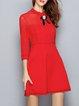 Plain Casual Cotton-blend Bow 3/4 Sleeve Mini Dress