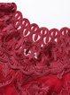 Wine Red Half Sleeve Embroidered Pierced Midi Dress