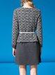 Gray Long Sleeve A-line Paneled Crew Neck Mini Dress
