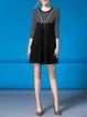 Paneled 3/4 Sleeve Stripes Casual Mini Dress