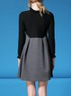 Black Paneled Casual A-line Mini Dress With Pockets