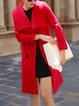 Solid Long Sleeve Wool Blend Casual Coat with Belt