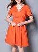 Orange Solid Short Sleeve Surplice Neck Mini Dress