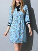 Blue Polyester Girly Printed Mini Dress