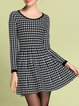 Black Wool Blend Houndstooth Long Sleeve Mini Dresses