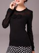 Black Elegant Wool Blend Bow Pierced Crew Neck Sweater