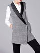 Gray Pockets Elegant Houndstooth Vests And Gilet With Brooch