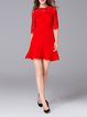Red A-line 3/4 Sleeve Crew Neck Lace Paneled Mini Dress
