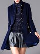 Dark Blue Velvet Ribbed Plain Long Sleeve Coat