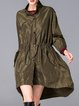 Army Green Asymmetrical Plain Pockets Casual Coat